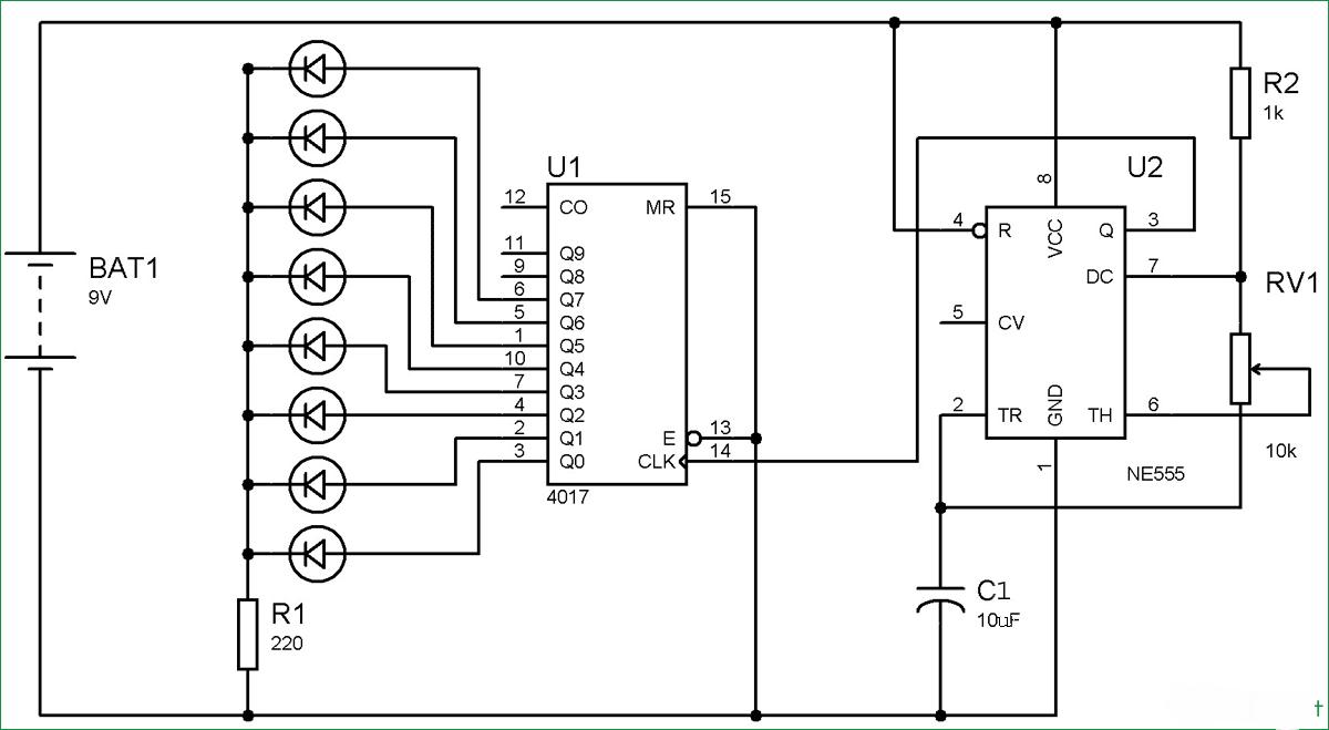 circuit diagram of 4017 ic