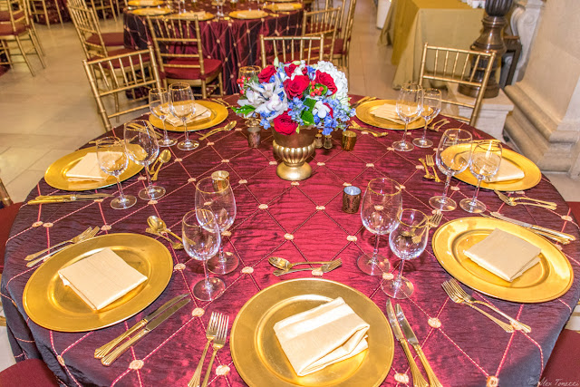 The place settings for the 2015 Keeper of the Flame Awards put on by The Center for Security Policy at the National Postal Museum in Washington, DC