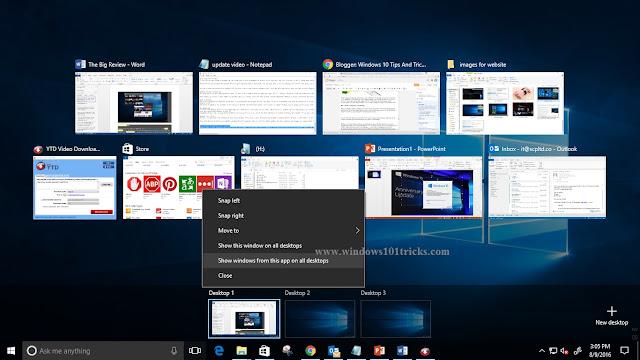 Pin a window or program on all desktops