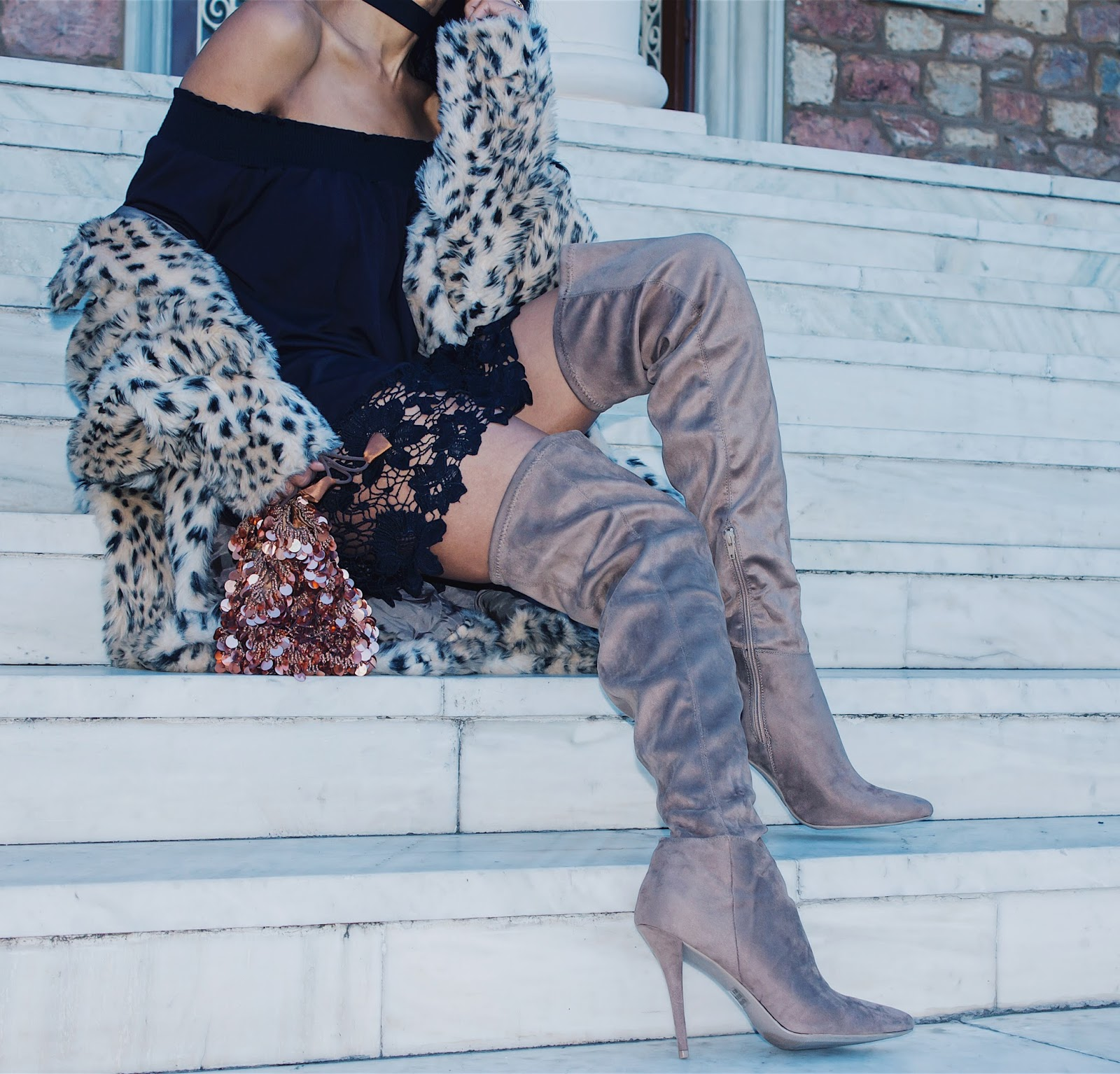 7535de79465 These taupe faux suede thigh-high boots are so warm and comfortable to  wear. These exact same style boots are also available in black at TOBI.