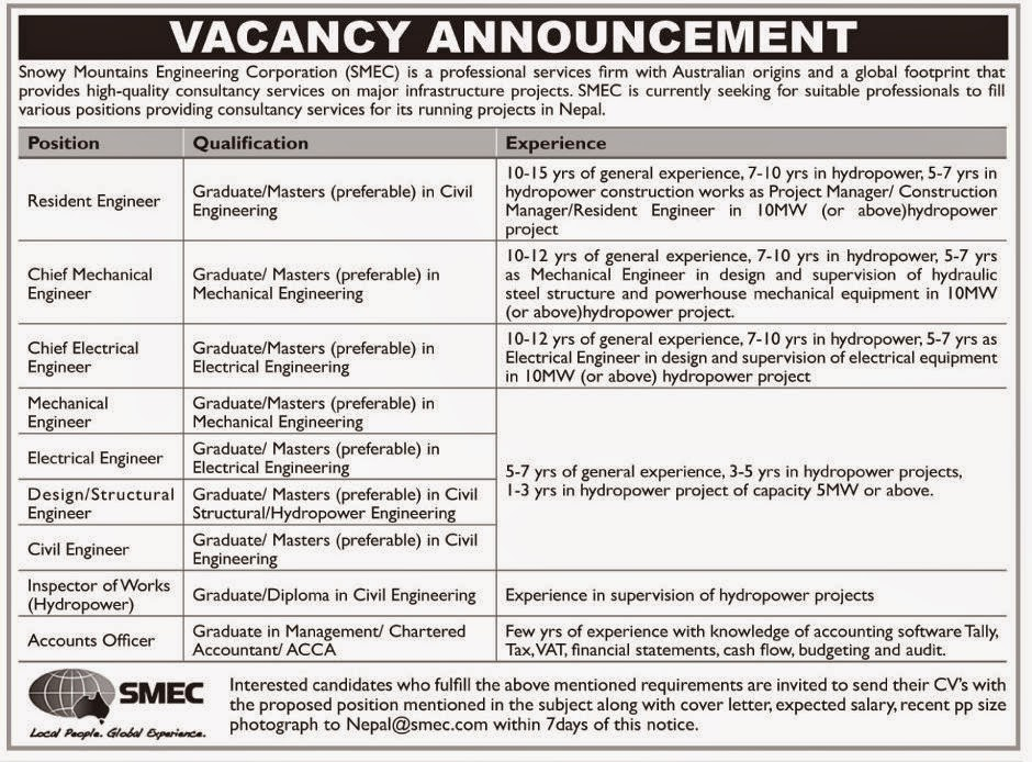 Various Engineer Positions Job Vacancy @ Snowy Mountains