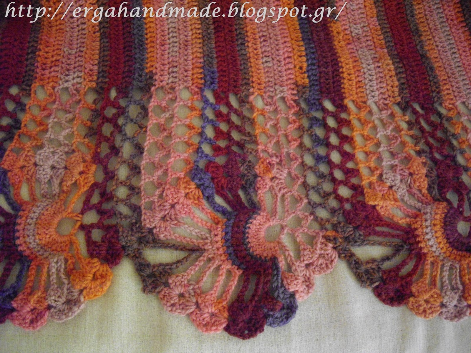 Ergahandmade Colorful Crochet Lace Shawl Diagram