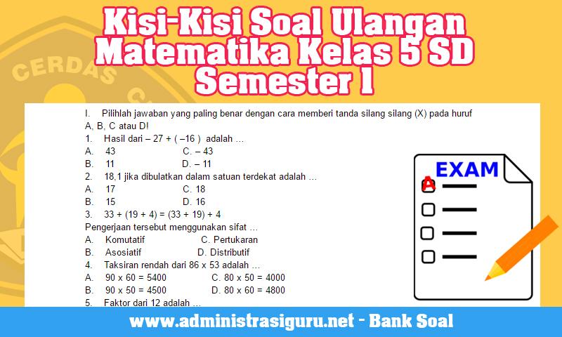 Kisi-Kisi Soal Ulangan Matematika Kelas 5 SD Semester 1