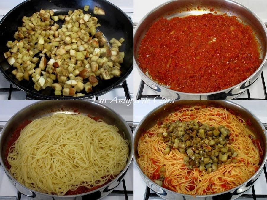 Preparación espaguetis con berenjenas blancas y salsa de tomate