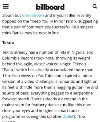 US Billboard Names Tekno Among 10 Hip-Hop and R&B Acts To Watch In 2017