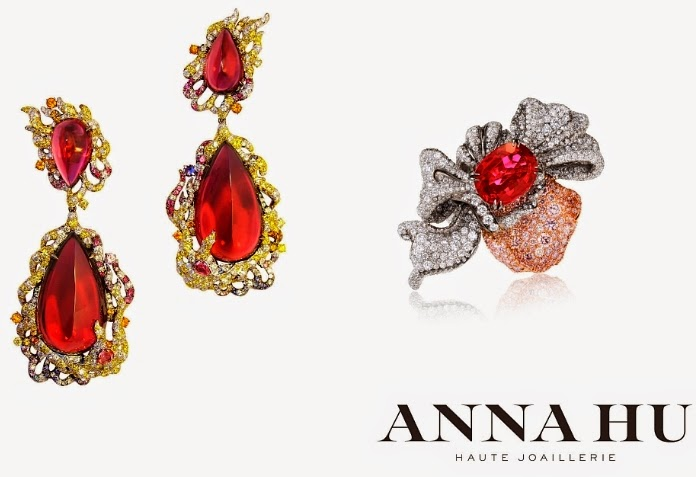 Anna Hu Haute Joaillerie's Fire Phoenix Earrings and Pétales d'Amour Ring