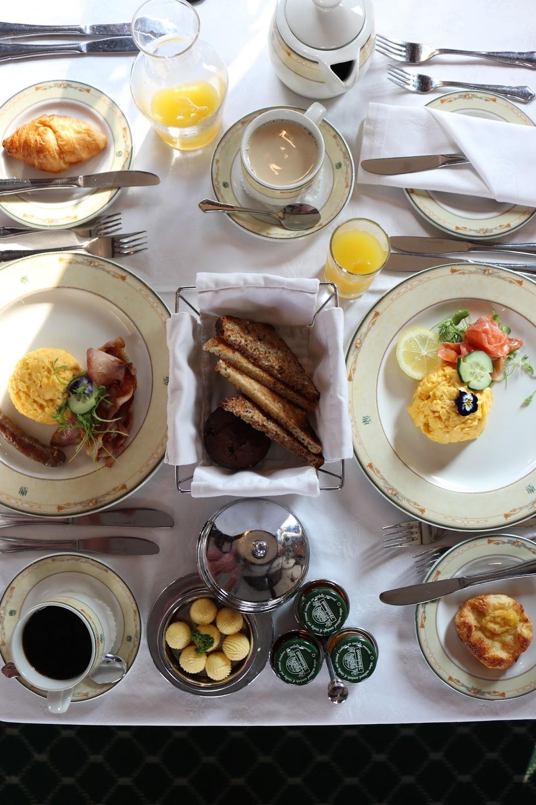 Flatlay of breakfast aboard Rovos Rail