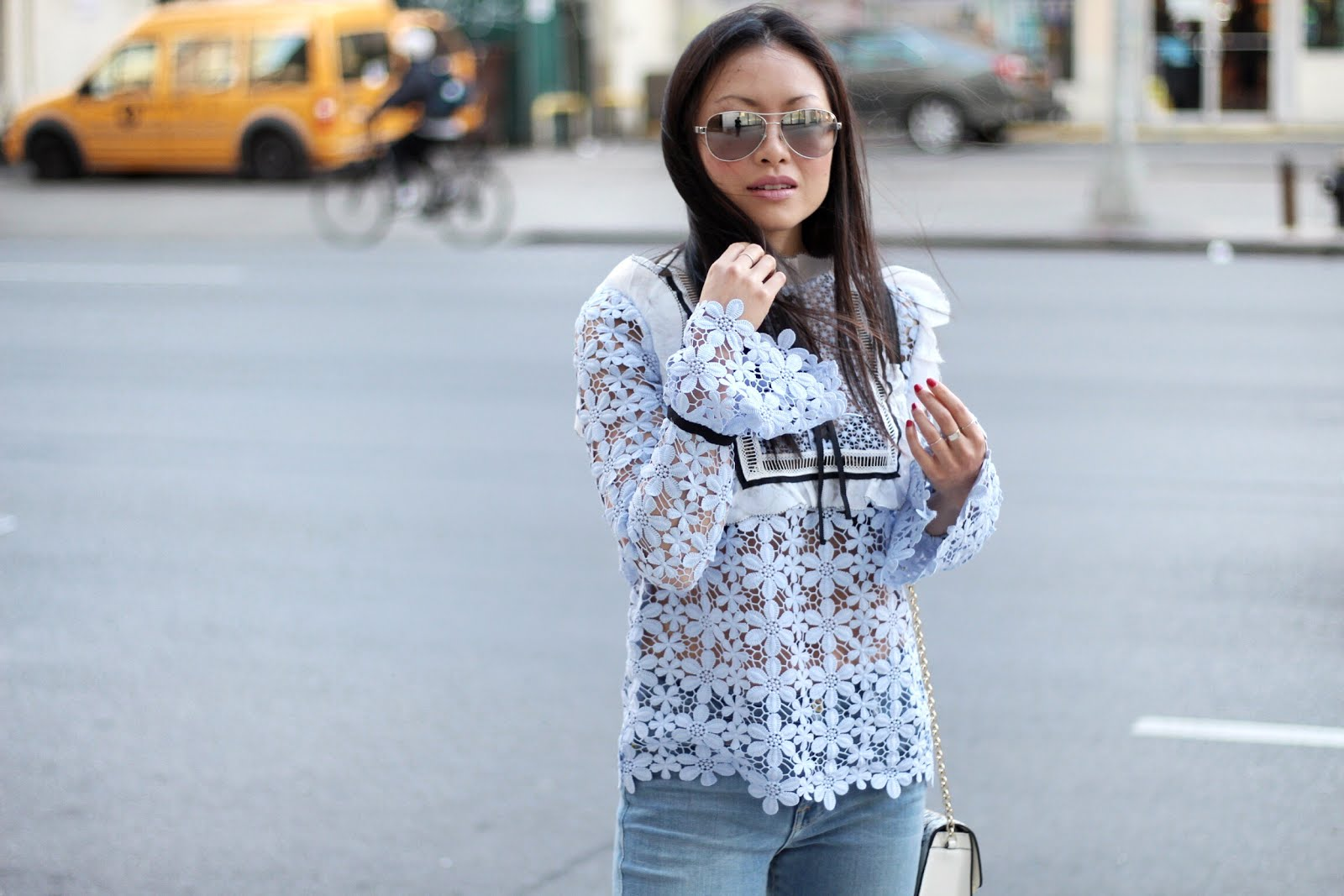 Self Portrait balloon sleeve lace top