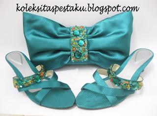 Sepatu Tas Pesta Sepaket Matching Warna Tosca Mewah Elegant