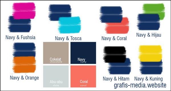 contoh kombinasi warna navy, warna yang cocok dengan navy blue