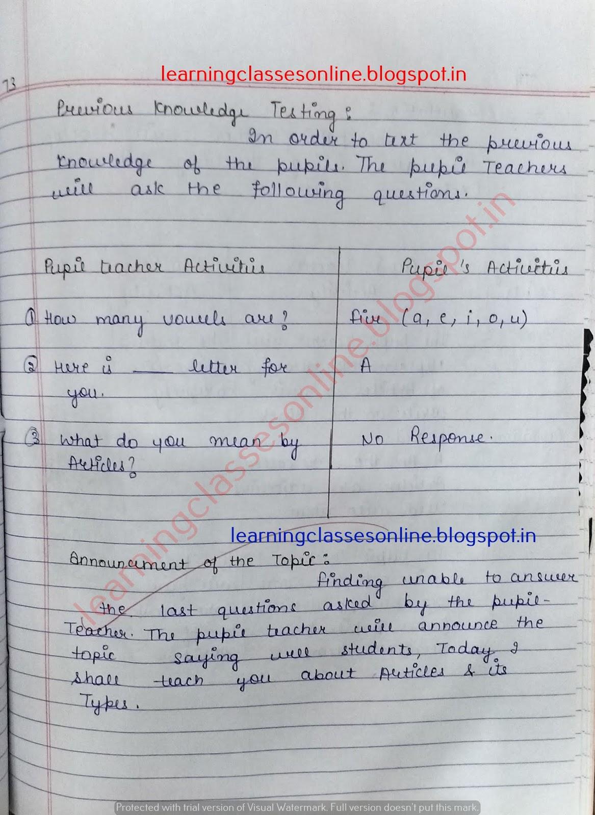 ignou lesson plan for english,