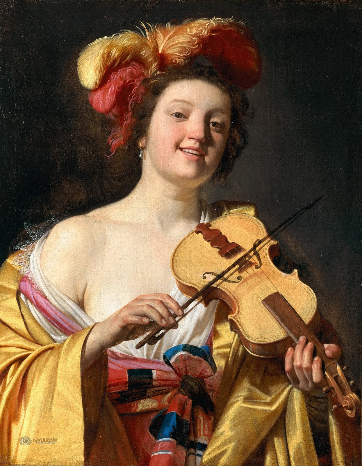 Gerrit van Honthorst A Woman Playing the Violin