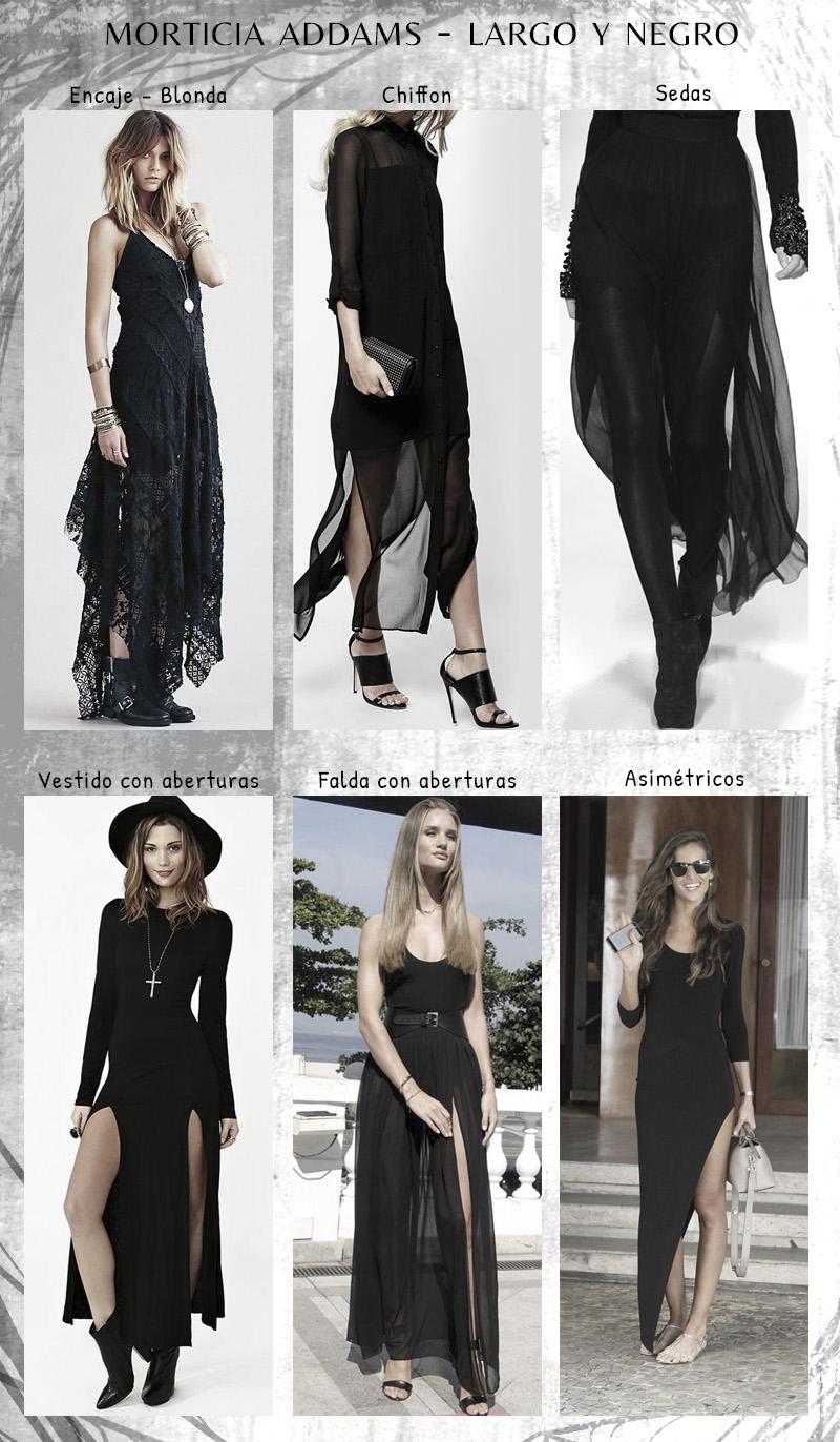 Moda y estilo oscuro inspirado en Morticia vestidos largos y negros
