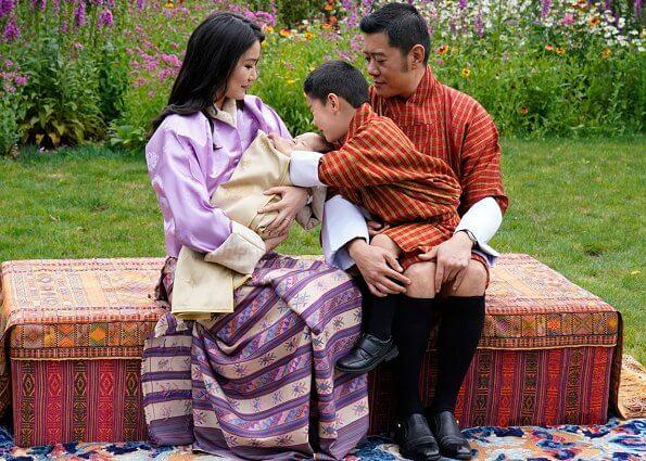 King Jigme Khesar Namgyel Wangchuck, Queen Jetsun Pema, Prince Jigme Namgyel and newborn Prince