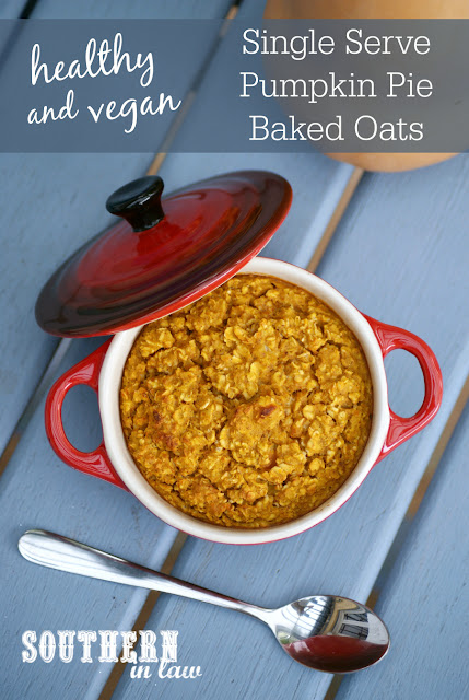 Healthy Single Serve Pumpkin Pie Baked Oatmeal Recipe - low fat , gluten free, vegan, healthy, sugar free, clean eating, low calorie, single serving, egg free, nut free, dairy free