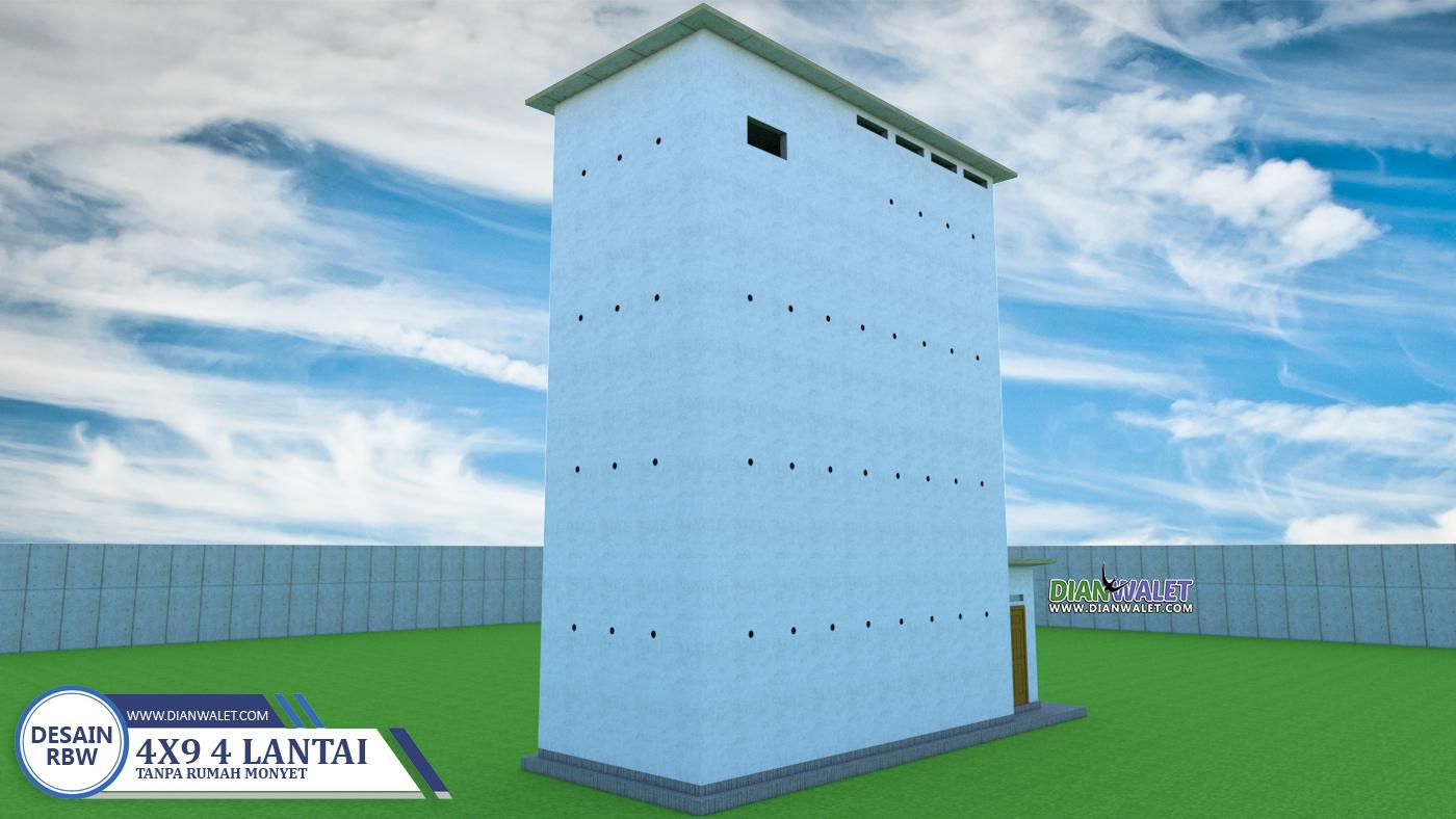 Desain Rumah Burung Walet 4x9 4 Lantai Tanpa Rumah Monyet Dian Walet
