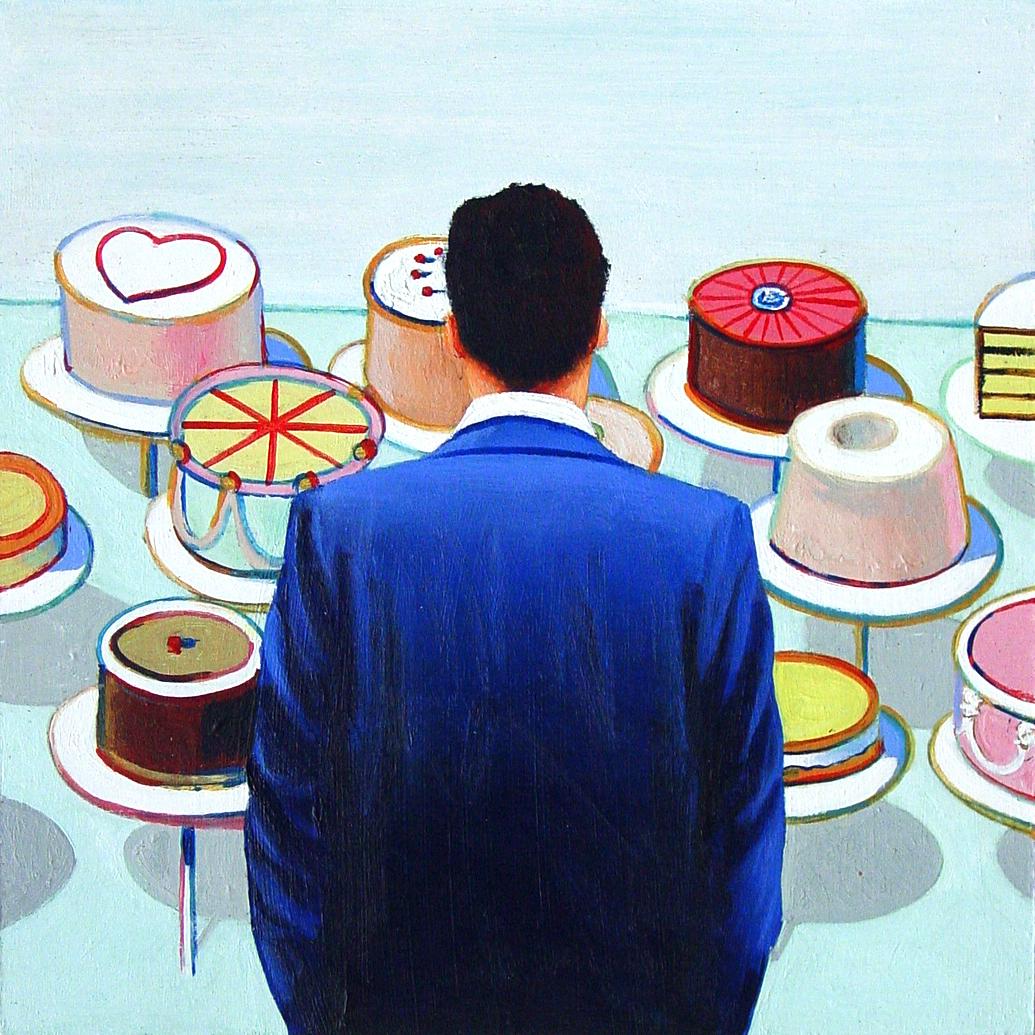 Cakes- Painting Of Man Enjoying Painting By Wayne Thiebaud ...