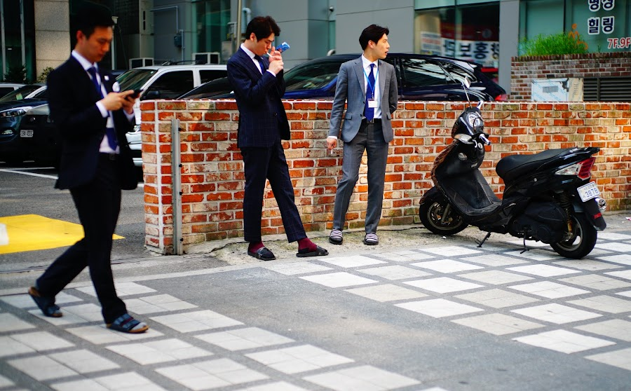 salaryman during smoking break in Gangnam