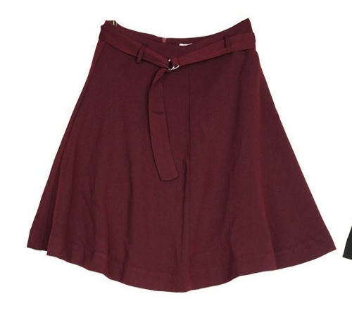 Self-Belt A-Line High Rise Skirt