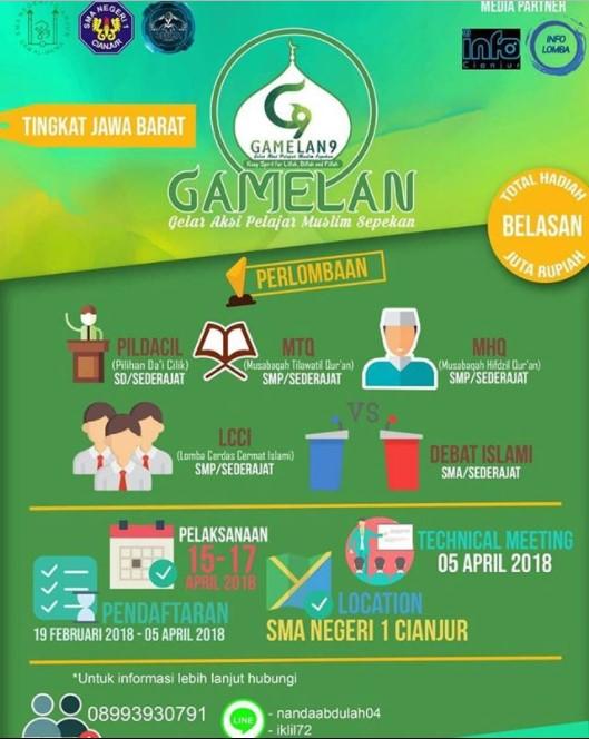 Event Gamelan Islami Tingkat Jawa Barat 2018 SMAN 1 Cianjur