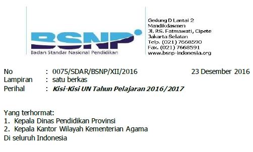 Surat Edaran BSNP Tentang Kisi-Kisi UN 2017 Tahun Pelajaran 2016/2017