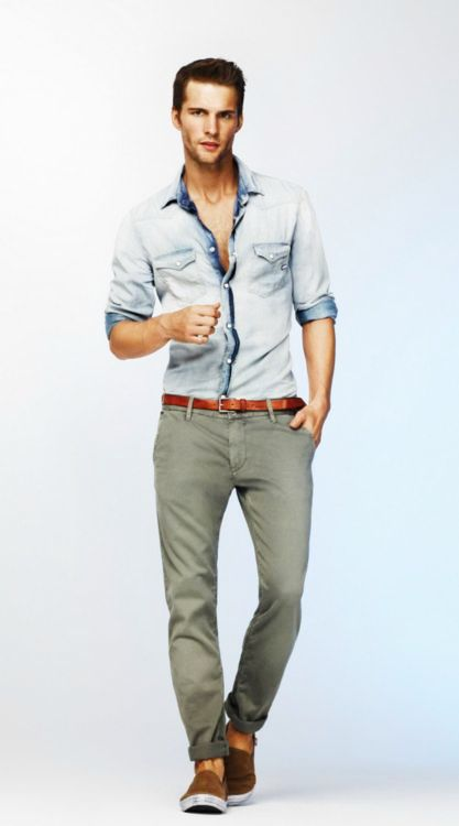 green pants light blue denim shirt combination for men