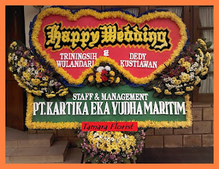 karangan bunga happy wedding