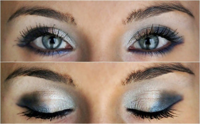 navy silver gray makeup idea for blue green eyes