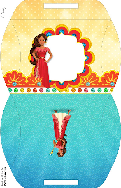 Caja tipo almoada de Elena de Avalor para imprimir gratis.