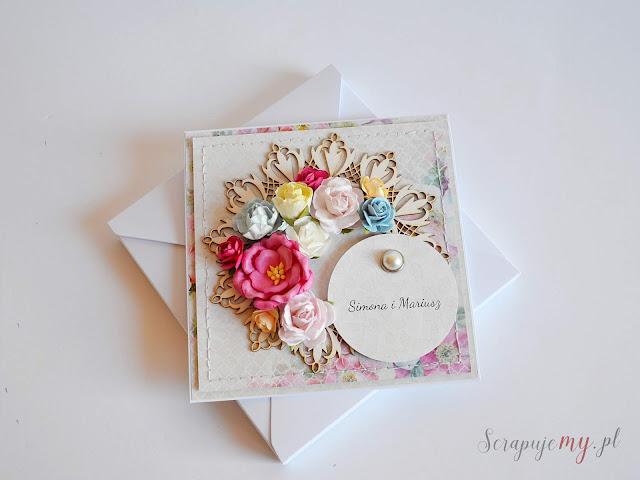 kartka ślubna w kwiatach, ślub miłośników kwiatów, ukwiecona kartka, wedding card