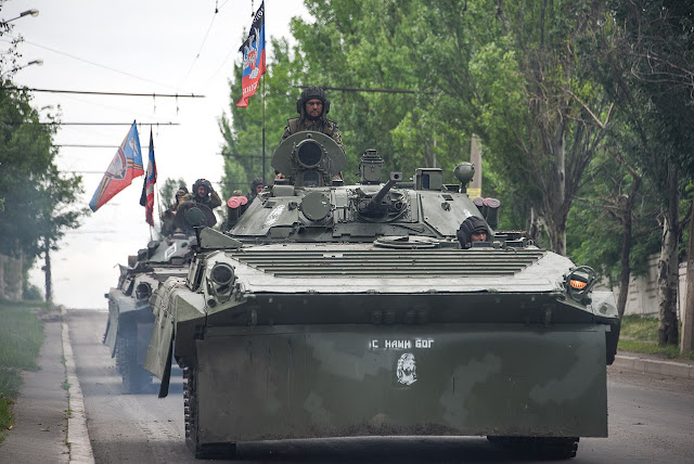 Image Attribute: Russia-backed rebel armored fighting vehicles convoy near Donetsk, Eastern Ukraine, May 30, 2015, / Source: Wikimedia Commons