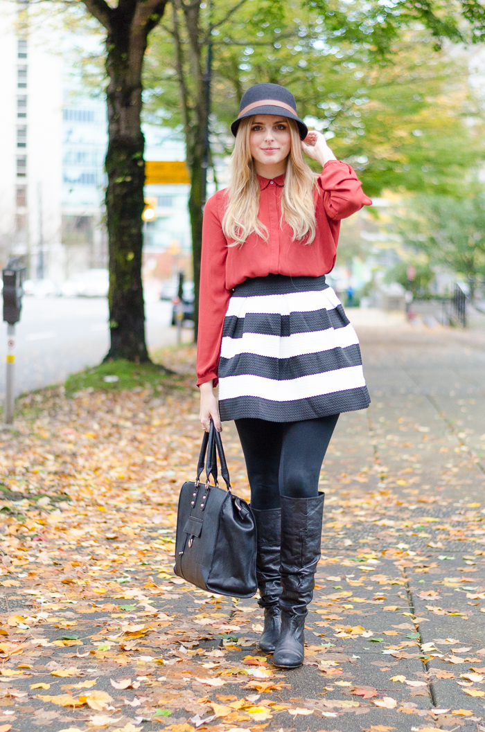 Forever 21 blouse and striped Target skirt
