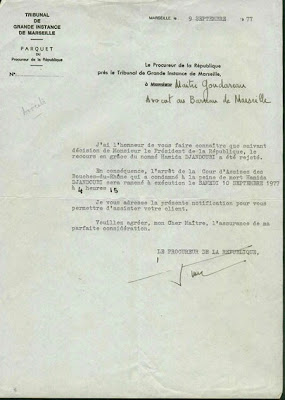 The official letter announcing that Djandoubi's request for grace had been rejected.