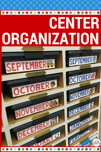 Center storage organization- organize your centers by month and subject to make planning easy and quick.  Download my center labels tub for free.
