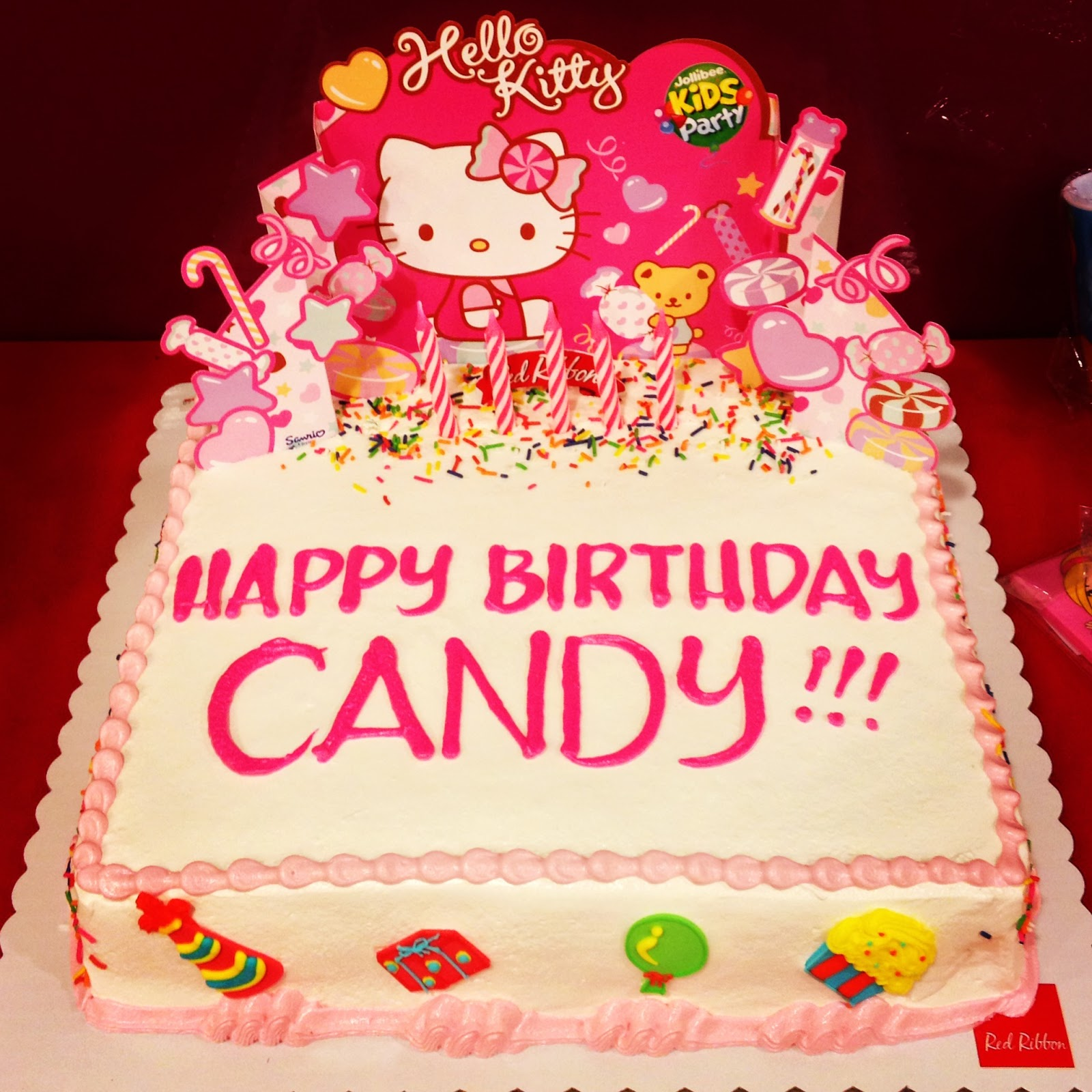 O Kitty Party At Jollibee Cake Design In Red Ribbon Birthday
