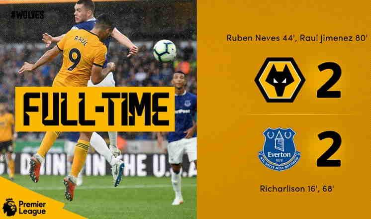 Hasil Wolves vs Everton Skor Akhir 2-2 [Liga Inggris 2018 Pekan 1]