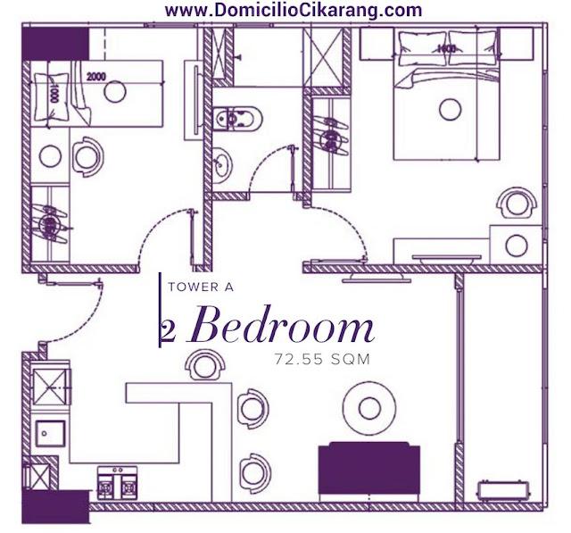 Denah Unit Apartemen Domicilio Cikarang Tipe 2 BR