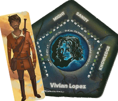 A rectangular tile with the image of Tanian, an olive-skinned man from a generic fantasy setting, and the character tile for Vivian Lopez, a black-and-white drawing on blue paper of a non-descript female.