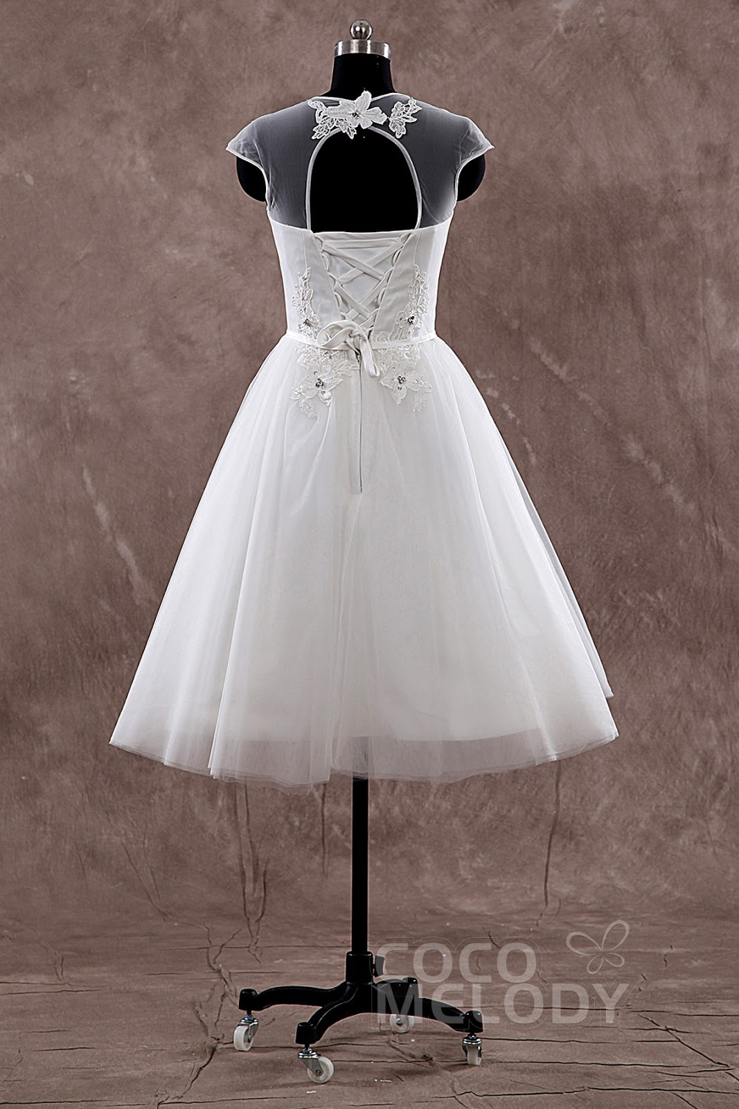 Ball Gown Illusion Natural Knee Length Tulle Ivory Cap Sleeve Lace Up Corset Wedding Dress