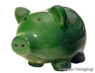 Green piggy bank on white background photograph in Pocatello, Bannock, Idaho, by Cramer Imaging