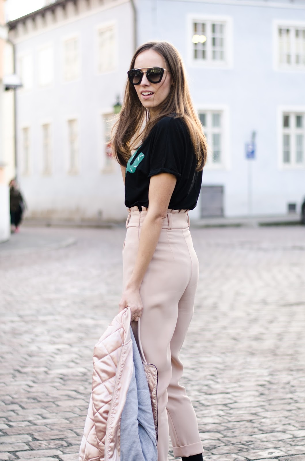 kristjaana mere pink high waist pants black t-shirt