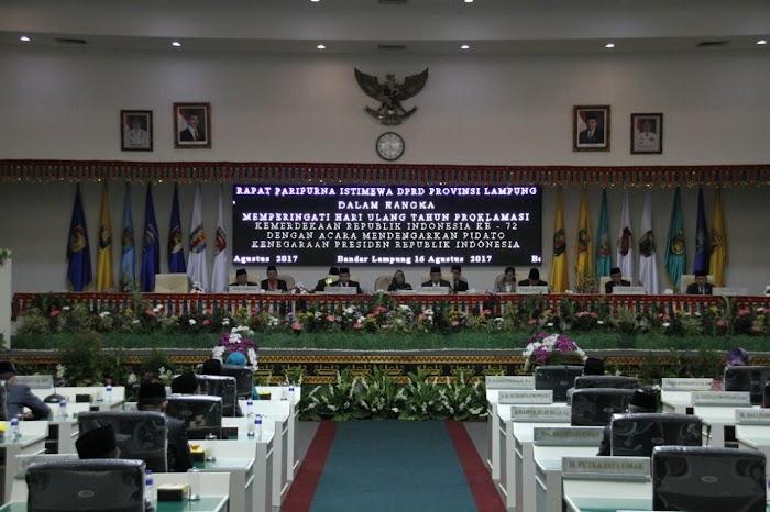 DPRD Lampung Menggelar Rapat Paripurna Istimewa Dalam Rangka Mendengarkan Pidato Kenegaraan