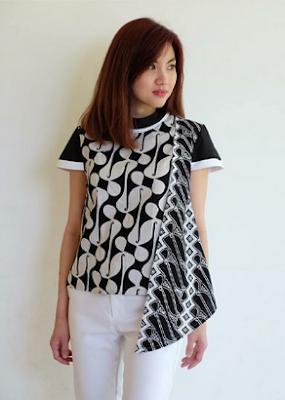 Style baju batik model atasan lengan pendek modis