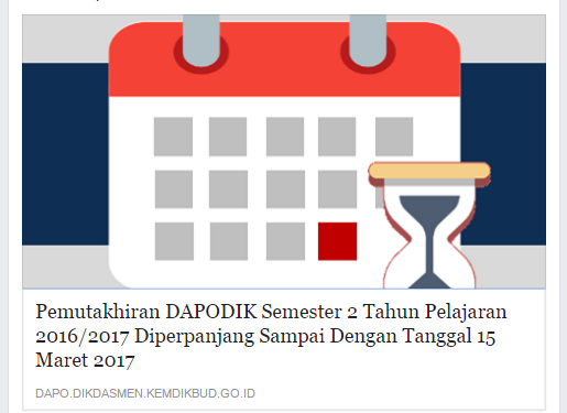 Pemutakhiran DAPODIK Semester 2 Tahun Pelajaran 2016/2017