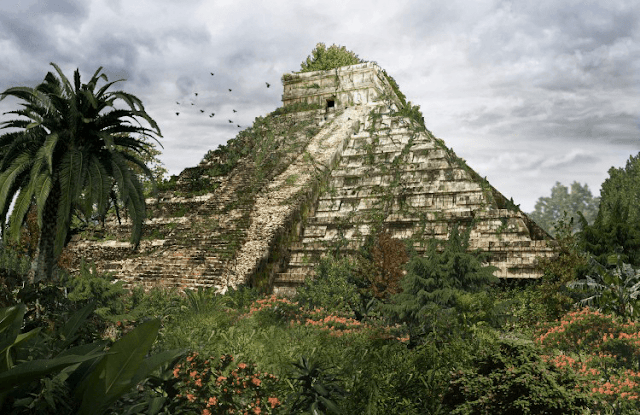 piramide con hierba