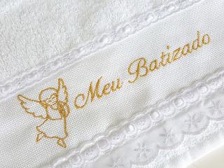 Toalha de Batismo Bordada