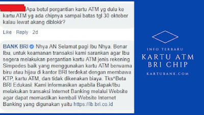 Ganti kartu atm bri chip via cs bri facebook chat