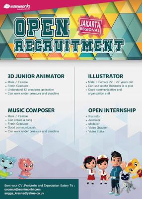 Manimonki Studios Open Recruitment Khusus Jakarta