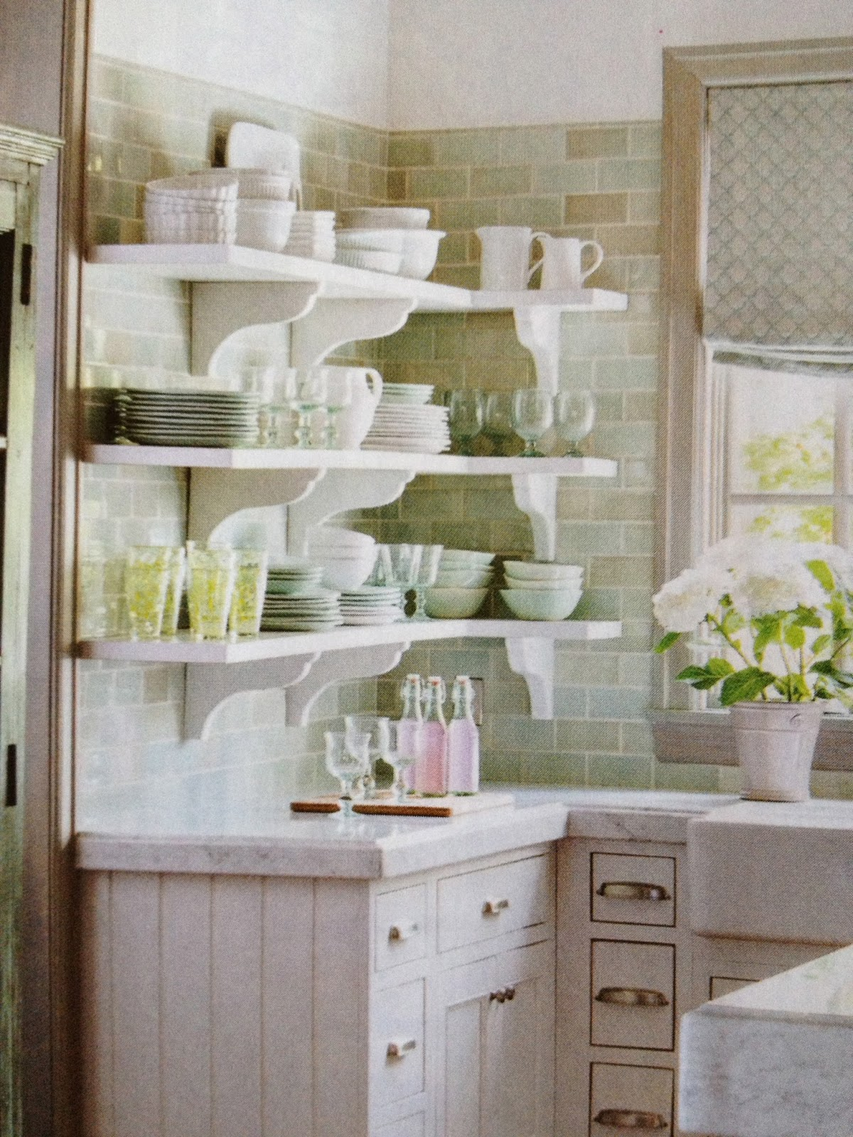 country shelves for kitchen farm style table vignette design french magazine