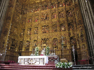 The 20 m high Altar piece, cathedral of Seville, Spain